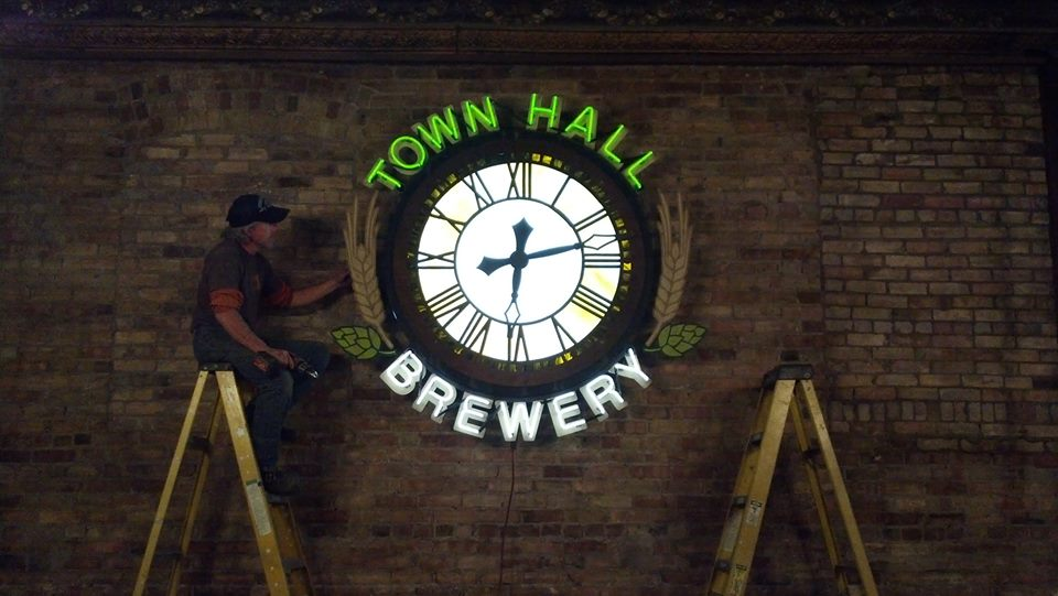 Town Hall Brewing custom neon for local brewery